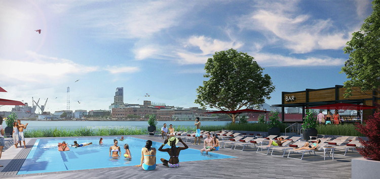 Rendering of the Sagamore Pendry Baltimore Hotel Pool