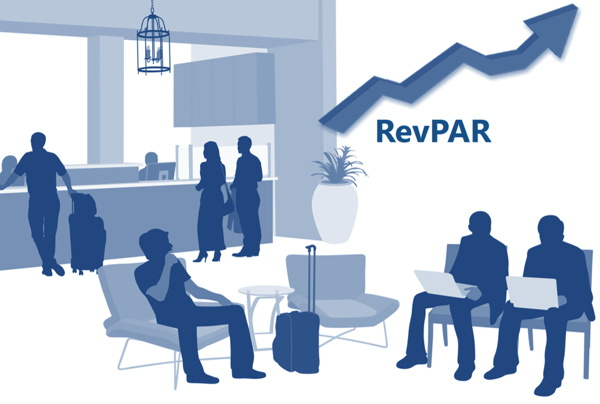 Illustration of a hotel lobby with the word RevPAR