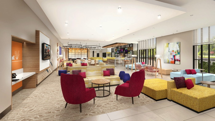 The bloom-inspired lobby of the new Hilton Garden Inn North American prototype, Magnolia.