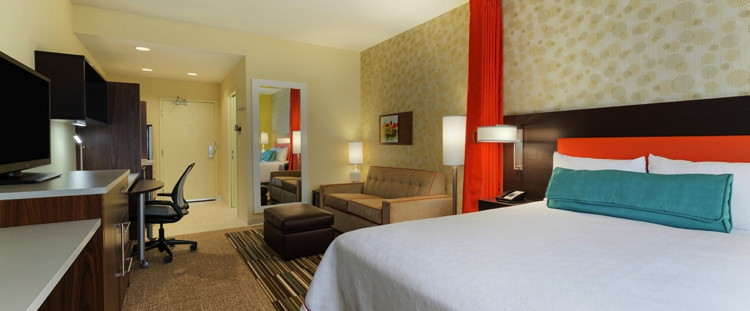 A Home2 Suites by Hilton guest room