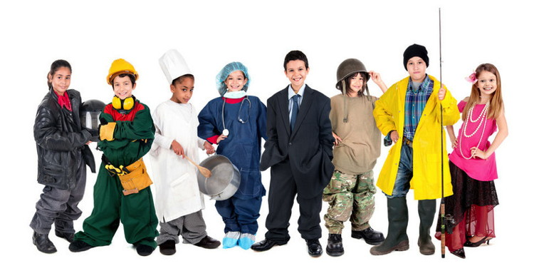Group of children posing with different costumes