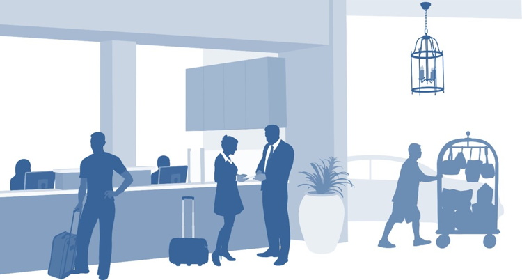Illustration of activity in a hotel lobby