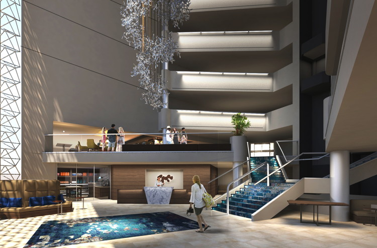 Rendering of the Hilton Tucson East Hotel lobby