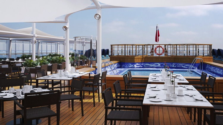 Rendering of the Queen Victoria - Lido Sun Deck