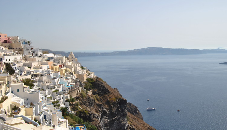 A town in Greece overlooking the sea