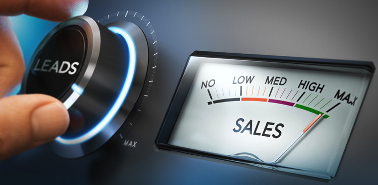 Sales concept - a dial and meter showing high sales