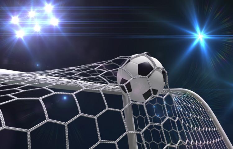 A soccer ball hitting the net