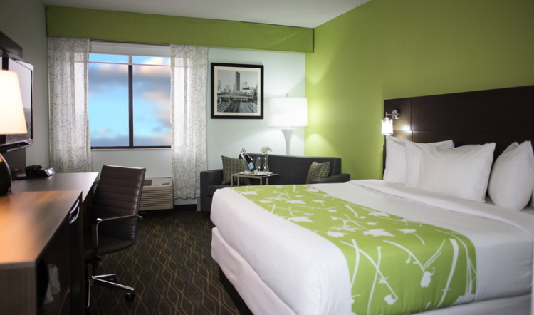 Guestroom at the Grand River Hotel, An Ascend Hotel Collection Member, in Grand Rapids, Mich.