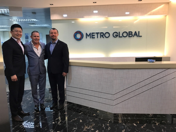 Metro Global Chief Operating Officer Jerry Xu, Lifestylepanel Managing Director Ben Westaway and Metro Global CEO Max Baer