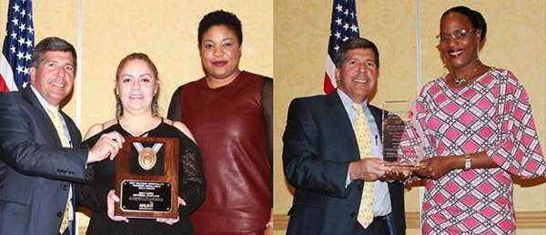 Left, Robert J. Bianchi, CEO, NEXCOM, presents the Military Hospitality Training Excellence Gold Award to Ana Herrera-Ruiz, general manager, and Nicole Nnoke, assistant general manager, Navy Lodge Bethesda. Right, Bianchi presents the Military Hospitality Training Excellence Meritorious Award to Joycelyn Connage-Johnson, general manager of Navy Lodge Guantanamo Bay.