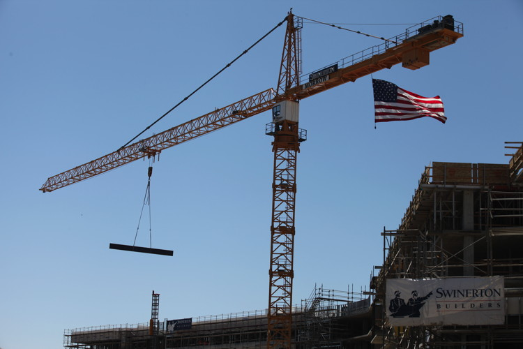 The final steel beam is placed as Viejas Casino & Resort celebrates the construction of a new hotel tower
