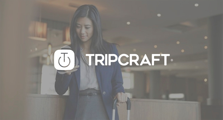 A woman with a mobile phone and the TripCraft logo