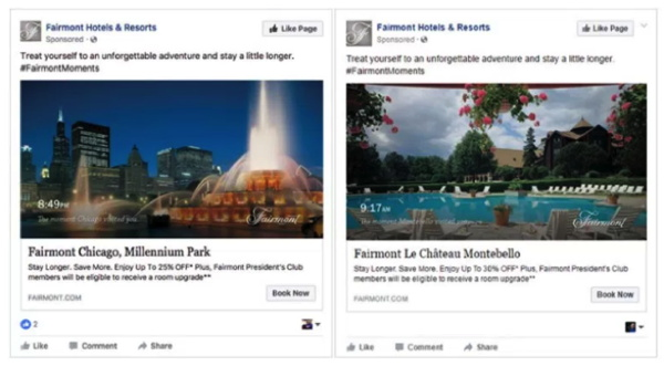Screenshot - Example of Fairmont's Facebook ads