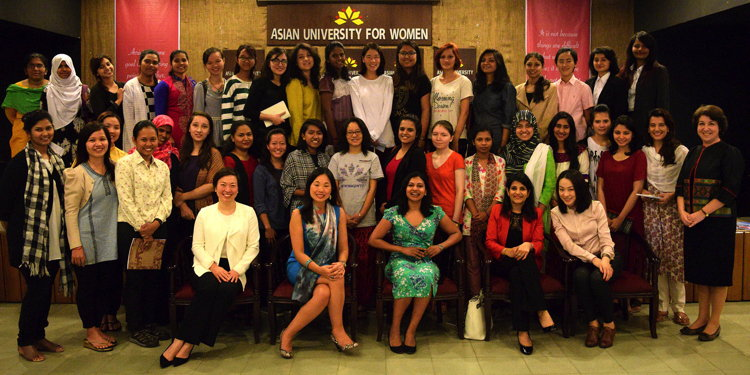 Group photo of students at the Asian University for Women