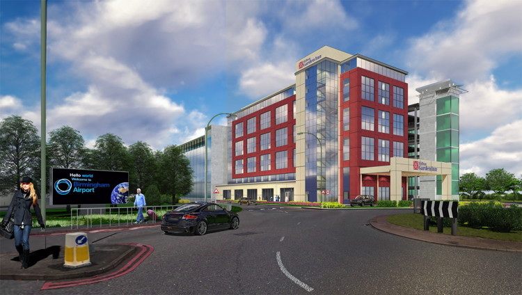 Rendering of the  Hilton Garden Inn Hotel Announced for Birmingham Airport
