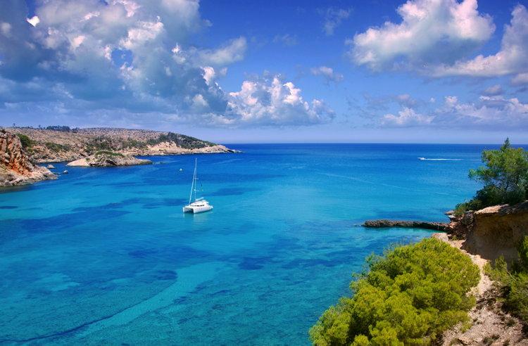 A sailboat in Ibiza