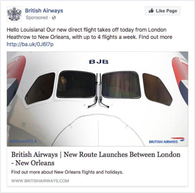 British Airways' Sponsored Facebook Ad
