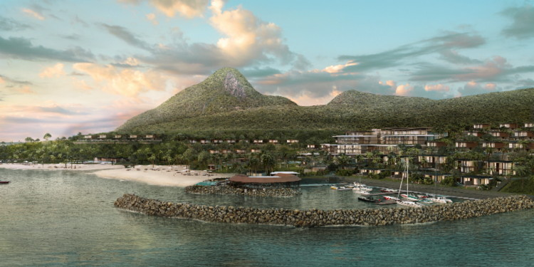 Rendering of the Fairmont Saint Lucia at Sunset Bay Hotel