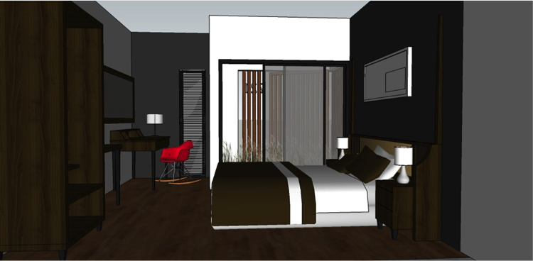 Rendering of a suite at the Amanuba Hotel & Resort Rancamaya, Bogor, West Java