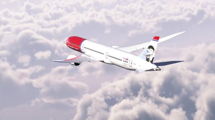 Norwegian 787-9 aircraft in flight