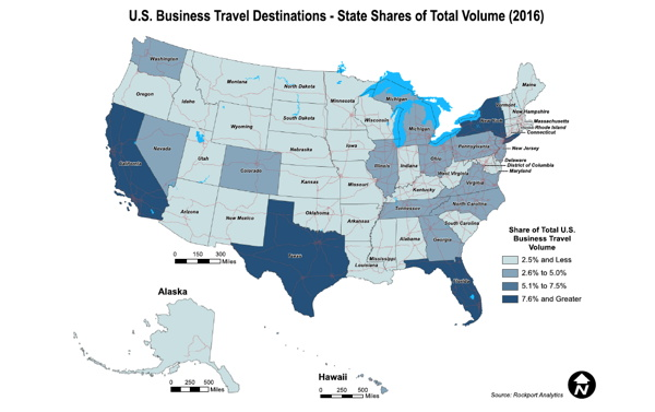 Map - US Business Travel Destinations