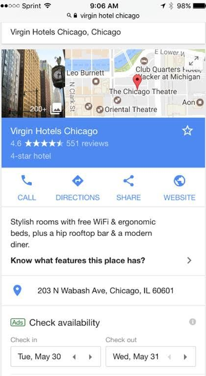 Screenshot Google hotel search result on mobile