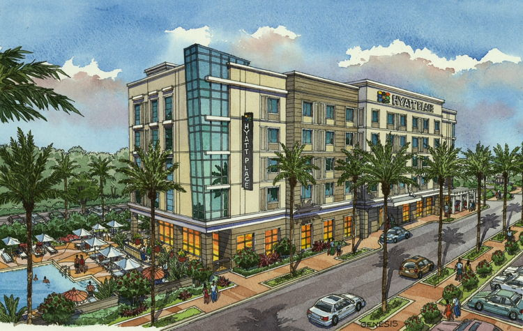 Rendering of the Hyatt Place Sandestin at Grand Boulevard Hotel