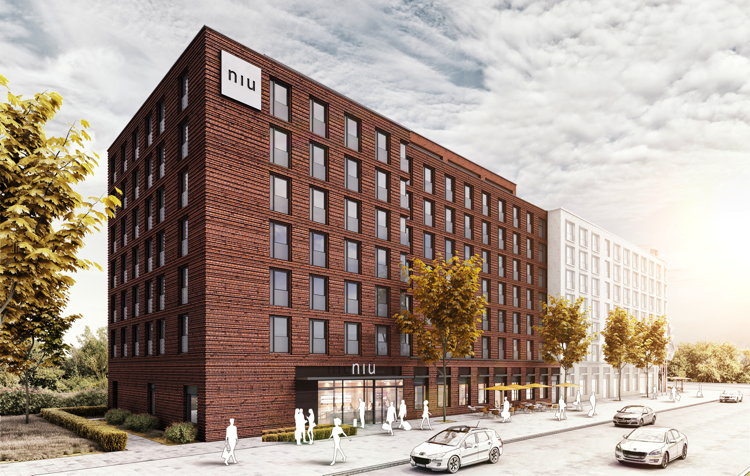 Renderong of the niu Hotel Mannheim, Germany