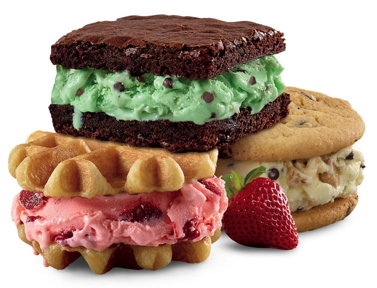 Rita's baked waffles, cookies and brownies sandwiched between new Hand-Scooped Frozen Custard.