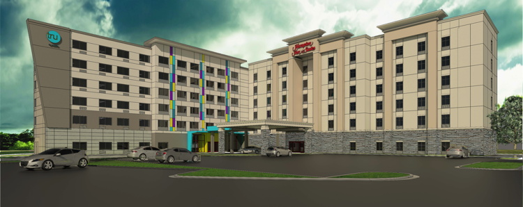 Rendering of the Hilton Dual-Brand Property in Charlotte