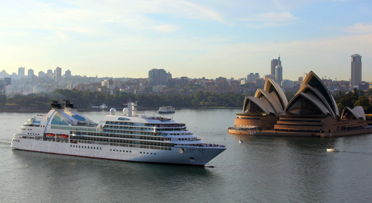 Seabourn ship in Sydney Harbor