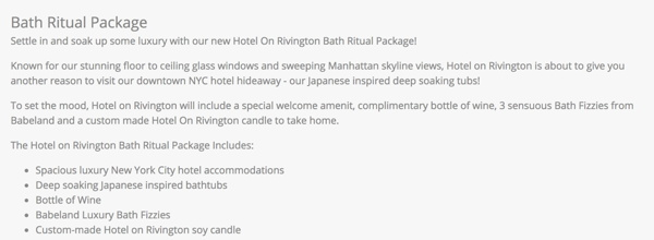 Sample text for a hotel package