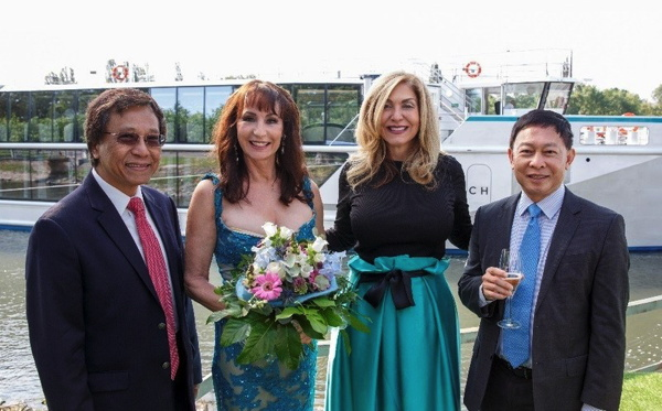 Genting Hong Kong Chairman and CEO Tan Sri Lim Kok Thay; Crystal Bach Godmother Anna-Maria Kaufmann; Crystal CEO and President Edie Rodriguez; and Genting Hong Kong Group President Colin Au at the Christening of Crystal Bach