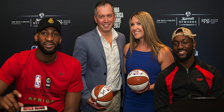 NBA players Andre Drummond and Kemba Walker mingled with members of Marriott Rewards and SPG at a private event at the African Pride Melrose Arch Hotel in Johannesburg, South Africa, to celebrate NBA