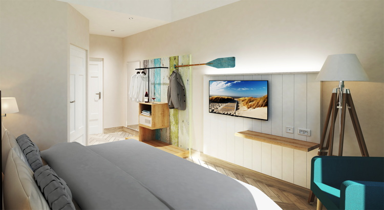 Rendering of a guest room at the niu Rig Hotel Announced for Lübeck, Germany