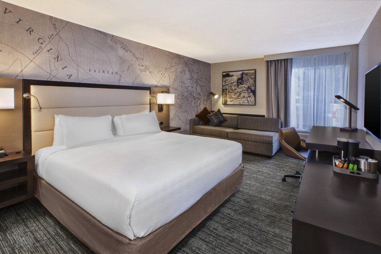 Guest room at the DoubleTree by Hilton McLean Tysons Hotel