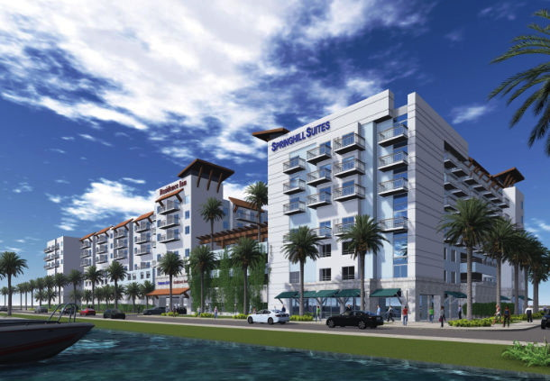 Rendering of the the Dual-Branded Residence Inn and SpringHill Suites Hotel in Clearwater Beach, Florida