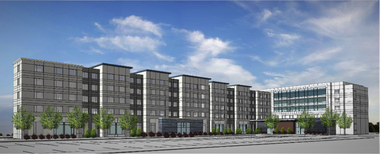 Rendering of the Dual-Branded Residence Inn and SpringHill Suites by Marriott at Keystone at the Crossing in Indianapolis, IN