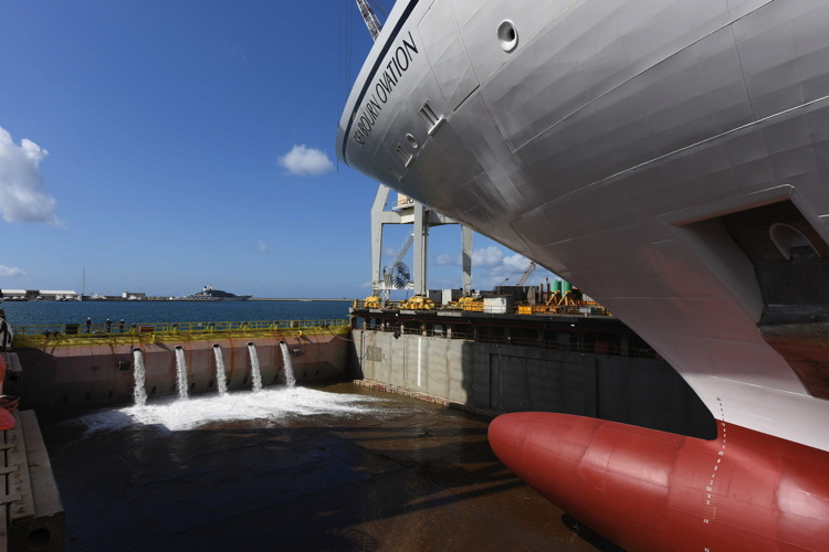 Seabourn Ovation at the Fincantieri shipyard in Sestri, Italy