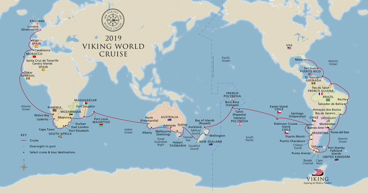 World map showing Viking World Cruise destinations