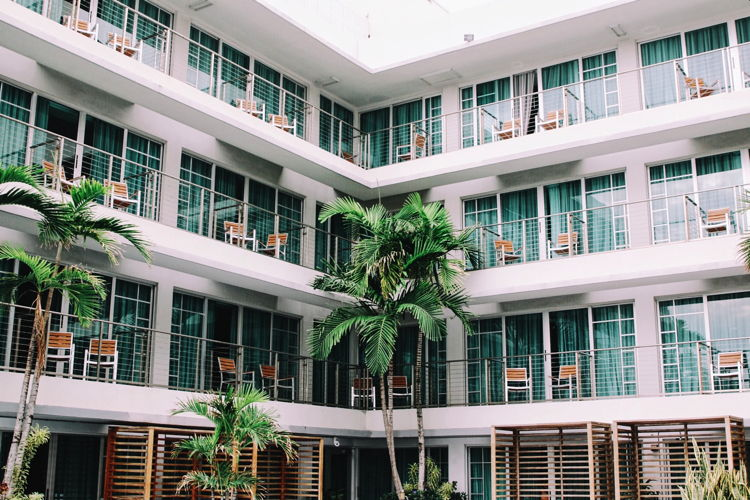A hotel exterior with palm trees - Photo by Francesca Saraco on Unsplash