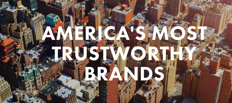 The phrase 'Most Trustworthy Brands' on an aerial phot of a city