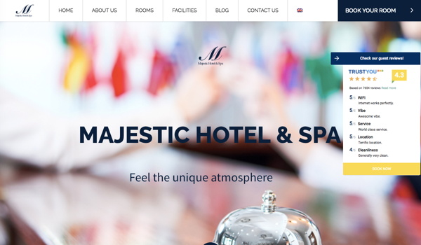 Screenshot - Majestic Hotel & Spa website