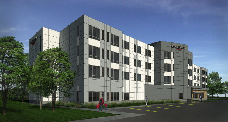 Rendering of the Courtyard by Marriott Appleton Riverfront Hotel