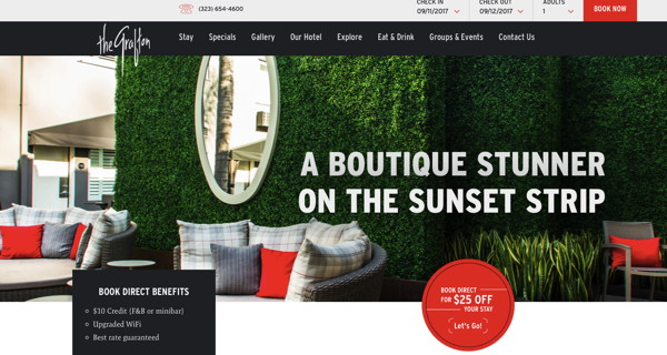 Screenshot - The Grafton on Sunset in LA website