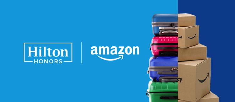 Hilton Honors and Amazon logos