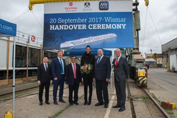 Crystal River Cruises welcomed Crystal Mahler to its fleet today in Germany during a handover ceremony held at MV WERFTEN Shipyard. (From Left) Colin Au, Group President of Genting Hong Kong; Gustaf Gronberg, Senior Vice President of Marine Operations of Genting Cruise Lines; Tan Sri Lim Kok Thay, Chairman of Genting Hong Kong and Crystal Cruises; Lauren Barfield, Godmother of Crystal Mahler; Harry Glawe, Mecklenburg-Vorpommern's Economics Minister; Tom Wolber