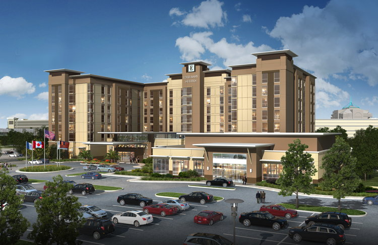Rendering of the Embassy Suites by Hilton Syracuse Destiny USA