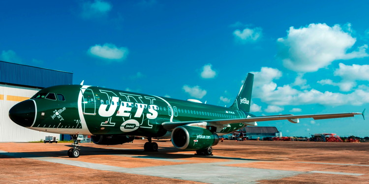 JetBlue Aircraft with New York Jets livery