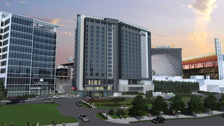 Rendering of the Omni Hotel at The Battery Atlanta
